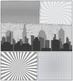 Comic book page background. With cityscape fireworks rays radial dotted halftone effects in gray colors. Monochrome pop-art style. Vector illustration Stock Photos