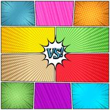 Comic book page background. With VS letters speech bubble halftone radial striped rays humor effects in bright colors. Vector illustration Royalty Free Stock Photo