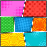 Comic book page bright template. With different colors and effects in pop art style. Vector illustration Stock Photo