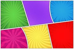 Comic book page colorful background stock illustration