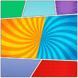 Comic book page colorful backgrounds set. With rays, radial, halftone and dotted effects in pop art style. Vector illustration Royalty Free Stock Image