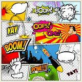 Comic book page divided by lines with speech bubbles, rocket, superhero and sounds effect. Retro background mock-up vector illustration