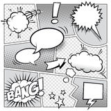 Comic Book Page. A high detail  mockup of a typical comic book page with various speech bubbles, symbols and sound effects