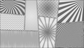 Comic book page horizontal monochrome background. With radial dotted sound waves halftone humor effects in gray colors. Pop-art style. Vector illustration Royalty Free Stock Image