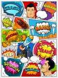 Comic book page layout. Comics template. Retro background mock-up. Divided by lines with speech bubbles, city, rocket, superhero a vector illustration