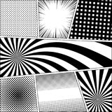 Comic book page monochrome background. With radial dotted rays halftone grid humor effects in black and white colors. Pop-art style. Vector illustration Royalty Free Stock Photography