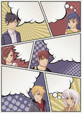 Comic book page with people talking. Comic strip background with speech bubbles. Manga anime teenagers Royalty Free Stock Photos