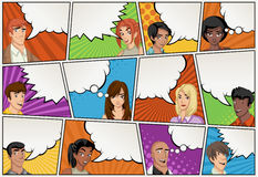 Comic book page with people talking. Comic strip background with speech bubbles. vector illustration