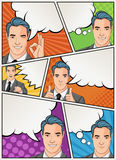 Comic book page with retro man talking. Comic strip background with speech bubbles. Royalty Free Stock Photo