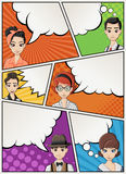 Comic book page with retro people talking. Comic strip background with speech bubbles. Royalty Free Stock Images
