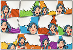 Comic book page with retro woman talking. Comic strip background with speech bubbles. Vintage art Stock Photos