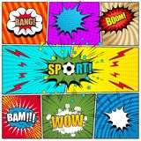 Comic book page template. With colorful speech bubbles, Bang, Sport, Boom, Bam, Wow inscriptions, lightnings sound stars halftone grid rays striped circles Royalty Free Stock Photography