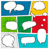 Comic book page template with halftone effect and speech bubbles. Background in pop-art style. Vector illustration Stock Photography