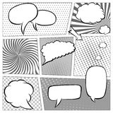 Comic book page template with halftone effect and speech bubbles. Background in pop-art style. Vector illustration in Stock Image