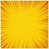 Comic book or pop art background. Vector stripes and halftone on yellow background. Royalty Free Stock Photo
