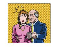 Comic book pop art illustrated workplace sexual harassment characters. Pop art illustrated workplace sexual harassment characters Stock Image