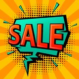 Comic book pop art style shopping sale speech bubble. On halftone and vintage sunburst texture Stock Photos