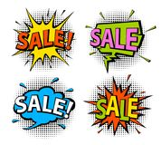 Comic book pop art style shopping sale speech bubbles Royalty Free Stock Photo
