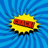 Comic book poster. With red Crack inscription yellow speech bubble sound and striped humor effects on blue radial background in pop art style. Vector Stock Photo