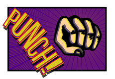 Comic book punching fist with onomatopoeia Stock Photo