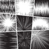 Comic book set frame black and white radial lines Stock Images