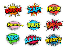 Comic book shouting expression sound effect, joy and cheers speech bubbles. Retro halftone pattern Royalty Free Stock Images