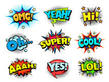Comic book shouting sound effect, joy and cheers speech bubbles. Comic book shouting expression sound effect, joy and cheers speech bubbles, retro halftone Royalty Free Stock Images