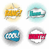 Comic book sound effect set, speech bubbles in pop art style. What, bang, hmm, cool. Comic book sound effects set, speech bubbles in pop art style. What, bang Royalty Free Stock Photo