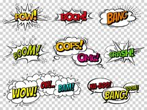 Comic book sound effect speech bubbles, expressions. Collection vector bubble icon speech phrase, cartoon exclusive font. Label tag expression, sounds Royalty Free Stock Photos