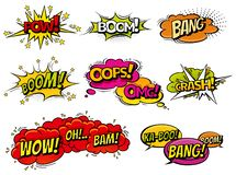 Comic book sound effect speech bubbles, expressions. Collection vector bubble icon speech phrase, cartoon exclusive font royalty free illustration