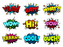 Comic book sound effect speech bubbles, marveling and enjoying expressions Royalty Free Stock Image