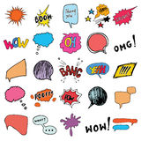 Comic book speech bubbles and cartoon sound effects set. Hand drawn pop art style signs vector illustration. Royalty Free Stock Photo