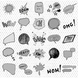 Comic book speech bubbles and cartoon sound effects set. Hand drawn pop art style signs vector illustration. Stock Photo