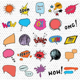 Comic book speech bubbles and cartoon sound effects set. Hand drawn pop art style signs vector illustration. Royalty Free Stock Photos