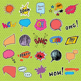 Comic book speech bubbles and cartoon sound effects set. Hand drawn pop art style signs vector illustration. Royalty Free Stock Images