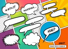 Comic Book Speech Bubbles. A collection of fun cartoon speech bubbles on a colourful background. Vector illustration Stock Images