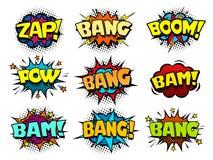Comic book speech bubbles, cool blast and crash sound effect Stock Photos