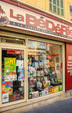 Comic book store in France. AIX-EN-PROVENCE, FRANCE - JUL 17, 2014: Store selling traditional Frenc and international comics and cartoons accesories for fans Royalty Free Stock Images