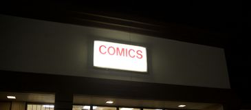 Comic book store. A comic book store sells comic magazines from marvel and dc comics such as superman, batman, robin, wonder woman green lantern, wolverine Stock Photo