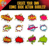Comic Book Style Action Bubbles with Halftone Effect. Set of 6 comic style action bubbles with blank versions to create your own. Includes bursts, stars and vector illustration