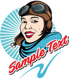 Comic book style aviator woman, pilot in a flight helmet Royalty Free Stock Image