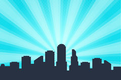 Comic book style background, big city skyline outlines.   Royalty Free Stock Photos