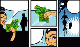 Comic Book Style Banners with woman man and money Talkin Stock Image