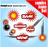 Comic book style bombs boom bam wow pow ops  explode. Bombs boom bam wow pow ops  explode Royalty Free Stock Photos