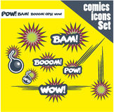 Comic book style bombs boom bam wow pow ops  explode Royalty Free Stock Photo