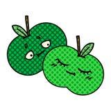 Comic book style cartoon apples. A creative illustrated comic book style cartoon apples stock illustration