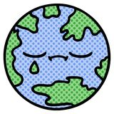 Comic book style cartoon of a planet earth. A creative comic book style cartoon planet earth royalty free illustration
