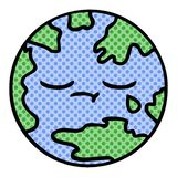 Comic book style cartoon of a planet earth. A creative comic book style cartoon planet earth stock illustration