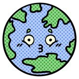 Comic book style cartoon of a planet earth. A creative comic book style cartoon planet earth vector illustration