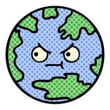 Comic book style cartoon planet earth. A creative illustrated comic book style cartoon planet earth stock illustration